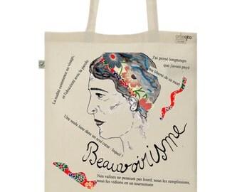 Graphic Tote Bag, Organic Cotton, Limited edition - Simone de Beauvoir