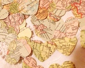 Large Bespoke Vintage Atlas Map Heart Wedding Table Decoration, Event Confetti, Table Scatters, Bon Voyage Travel Party