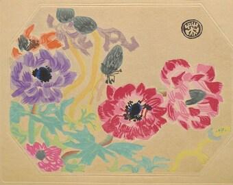 "Ukiyoe, Original Sōsaku-hanga, Woodblock print, antique, Eichi Kotozuka, ""Anemone"""