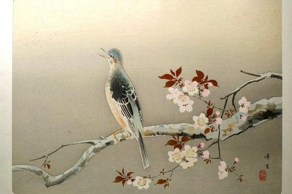 Japanese antique woodblock print, Kodama Kibo