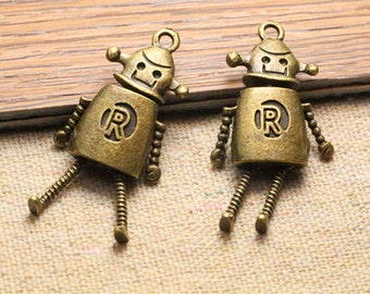 5pcs antique bronze robot charm,necklace charms,jewelry making supplies,23*32mm