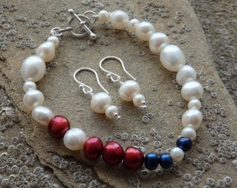 Pearl Bracelet & Earrings, Freshwater Pearls, Red, White and Blue Pearls, Sterling Silver, Pearls