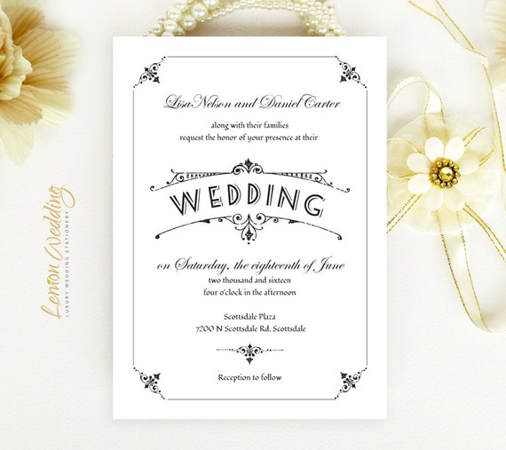 Black and white wedding invitations printed on white shimmer cardstock ...