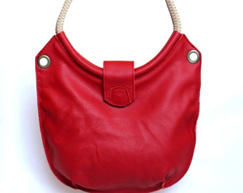 Leather beach bag