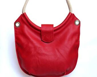 Leather beach bag