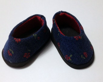 Doll shoes to fit American girl doll shoes 18 inch doll shoes doll footwear denim doll shoes