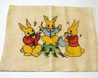 Vintage Vogart hand embroidered  bunnies to frame