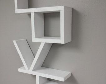 Love Shelf. Shabby Chic Hanging Wall Shelf. Rustic Wall Hanging Shelf.