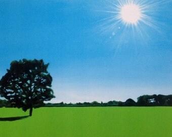 landscape painting, acrylic landscape painting, landscape print, Tree painting, sun flare,sunshine,summer landscape, landscape art, tree art