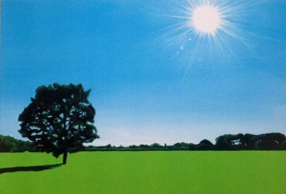Sunshine art, sun flare, sun art, landscape painting, landscape print, Tree painting, summer landscape, landscape art, tree art