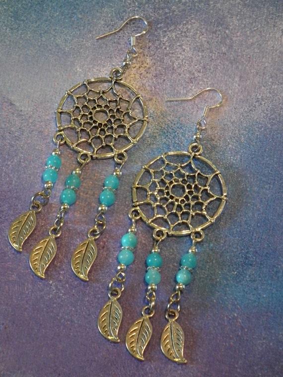 Blue Jade Dream Catcher Earrings