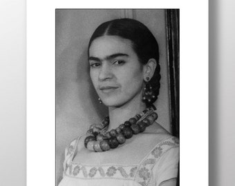 Frida Kahlo -  Black and white portrait of artist Frida Kahlo, home decor, office decor, bw photo, vintage photograph, mexican artist