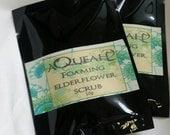 Sample size 10g sachet Elderflower flaxseed soap free foaming scrub