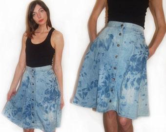 vintage 70s denim skirt reconstructed acid wash