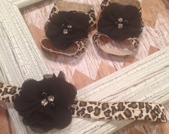 Leopard Print Headband/sandal set