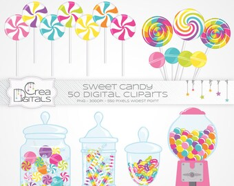 Pink sweet candy - 50 digital cliparts - INSTANT DOWNLOAD