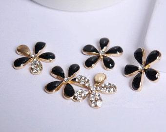 5pcs Bling Black Cherry Flowers Dazzle Crystals Gems Flatback Cabochon Decoden Accessories/DIY Cell Phone Case Deco Den Materials Supplies