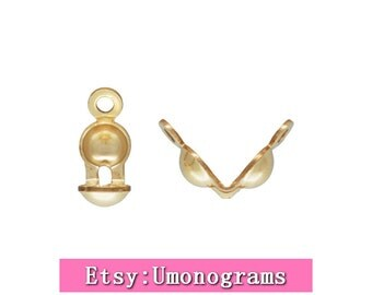 """0.036"""" Hole Clamshell Bead Tip w/2 Rings Knot End Cover Clam shell 14K Yellow Gold Filled Wholesale BULK DIY Jewelry Finddings 1/20 14kt GF"""