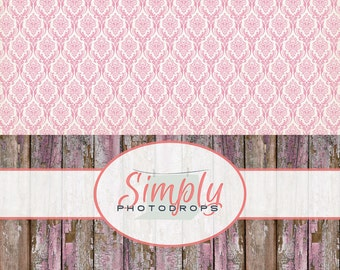 Vinyl Backdrop, Pink Damask With Pink Grunge Wood ALL IN ONE vinyl Photography Backdrop