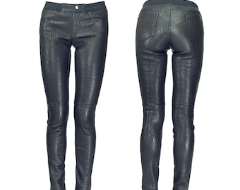 Crinkle Stretch Leather pants w/ Elastic Waist