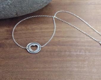 Heart Necklace/Pendant, fine silver, silver necklace, silver heart, circle necklace