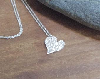 Textured Heart Necklace/Pendant, fine silver, silver heart, silver necklace, valentines gift
