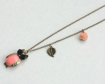 SALE, Long Owl Necklace, Flower Necklace , Leaf Necklace, Boho Necklace, Vintage Inspired Necklace, Peach Necklace, Antique Tone Necklace,