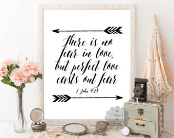 1 John 4:18 printed art Bible verse Perfect love casts out fear calligraphy print arrow art typography wall art poster wall decor Scripture