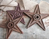 Set of 3 - Cast Iron 5 Point Stars - Rustic Decor Farm House Decor Barn Decor Structural Stars