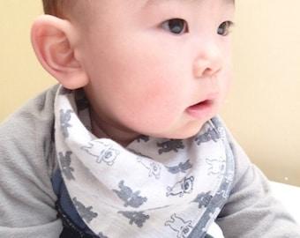 Bandana bib, baby boy bib, cotton bib, dribble bib, toddler bib