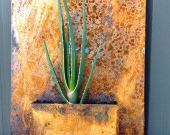 Rusted steel wall planter
