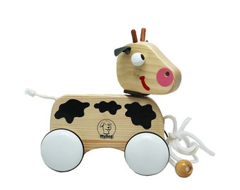 Wooden Pull Along Toy - Cow