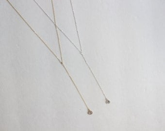 CZ Lariat Necklace // 14k Gold Filled or Sterling Silver CZ Lariat Necklace
