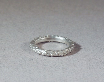 sterling silver organic textured growth ring