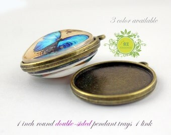 Two Sided Pendant Blank-25mm Bezel Tray-1 inch Pendant Charm-Double-sided pendant trays-Optional glass and seals 20pcs/lot 3 color