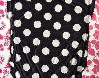 Woman Summer Black and White dots Dress,Summer Black Tunis Dress, Black and White Top T-shirt, Summer Black Blouse Top, Summer Oversized Top