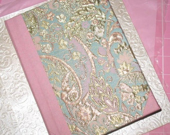 Handmade Journal in Pink, Blue, and Gold Brocade