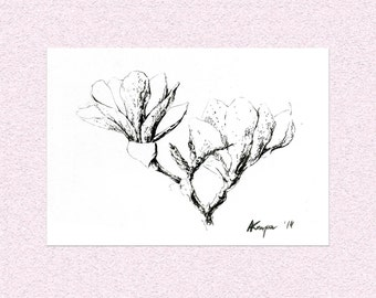 Magnolia Flowers minimalistic illustration - Original black ink spring blooming flowers painting - monochromatic pen drawing art