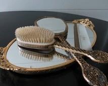 Antique Vanity Set - Vintage Apollo Studios Ormolu Gold, Hair Brush Set, 4 Piece Set, Hand Mirror, Brush, Comb, Mirror Tray, c.Early 1900's