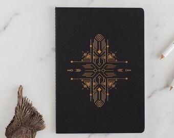 Minimalist blank Notebook, Gold Foil, letterpress Journal,black, gold,  Planner, Planner Insert