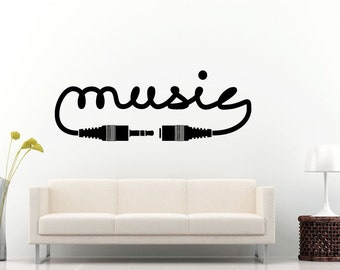 Audio Cable Music Aux Cord Notes Wall Decal Vinyl Sticker Mural Room Decor L720