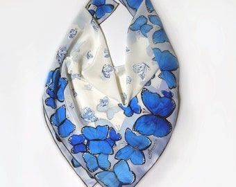 "Hand painted silk scarf ""Blue butterflies""- butterfly sarf, blue silk scarf, wings scarves-square scarf-small silk scarf"