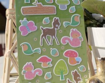 CUTE WOODLAND Scene Stickers/Felt Animal Stickers/ 1 Sheet