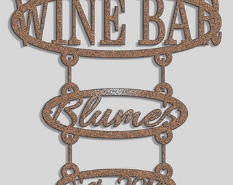 "CUSTOM Wine Bar Signage-Add your last name and ""established"" date"