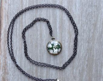 Woodland Deer Charm Necklace // Oh Deer Necklace // Vintage Deer Print