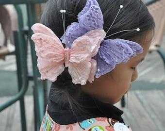 handmade Butterfly hairclip hair clip lace