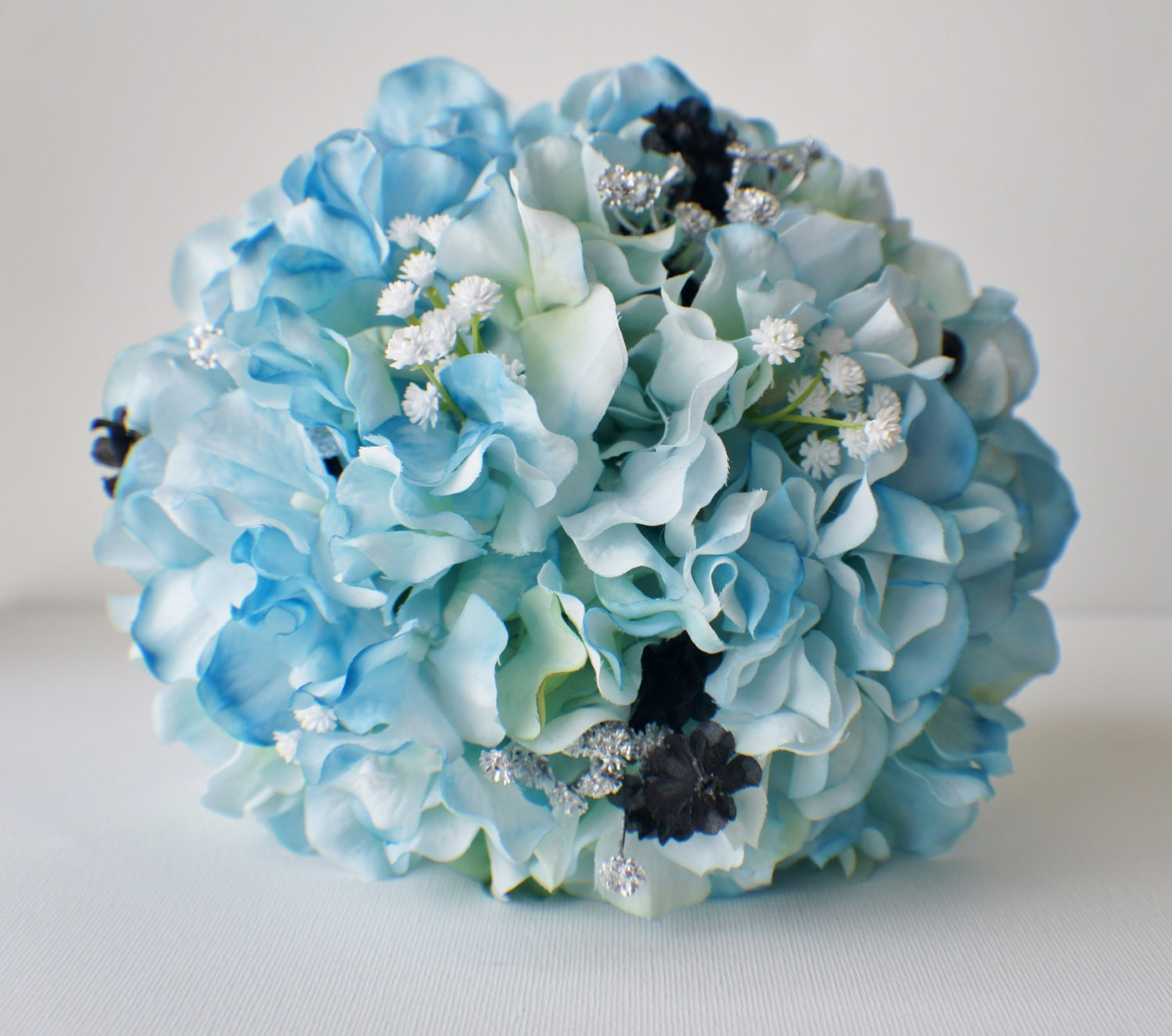 Blue Hydrangea Wedding Flowers: Blue Hydrangea Bouquet Silk Wedding Flowers Bridesmaid