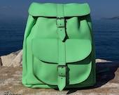 Leather Backpack Leather rucksack Handndmade Light Green Leather backpack, medium size
