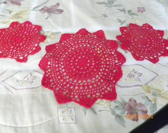 """Set of 3 Vintage Crocheted Doilies, Red, 12"""" x1 and 8"""" x2."""