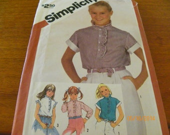 Vintage 1982 Simplicity 5861 Sewing Pattern Girls' Blouse With Sleeve Variations, Size Girl 12.